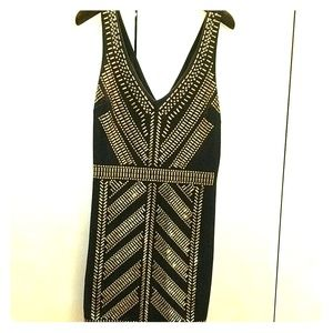 Bebe dress black with gold beading